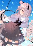 1girl akagashi_hagane animal_ears black_footwear black_skirt blue_background capelet cherry_blossoms commentary_request day dowsing_rod grey_hair holding jewelry long_sleeves looking_to_the_side mouse_ears mouse_tail nazrin outdoors pendant petals red_eyes shirt short_hair skirt smile solo tail touhou white_shirt