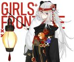 1girl 3o_c baton bow g11_(girls_frontline) girls_frontline grey_eyes hair_bow hair_ornament hair_ribbon hairband japanese_clothes lamp long_hair looking_at_viewer mask ribbon silver_hair solo tagme text_focus white_background