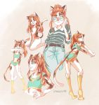5girls :3 ^_^ animal_ears artist_name ashleyloob belt blue_eyes calico cat cat_ears cat_girl cat_tail closed_eyes collared_shirt denim flat_chest furry glasses hair_bun hand_on_hip highres jeans kneehighs long_hair looking_back midriff multiple_girls navel one_eye_closed open_mouth orange_hair original outstretched_arm pants ponytail round_eyewear shirt shorts simple_background sitting smile sports_bra sportswear striped striped_shirt tail