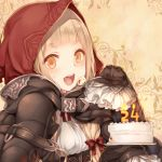 1girl bangs belt belt_buckle blonde_hair blunt_bangs blush bow brown_belt buckle cake candle cape eyebrows_visible_through_hair fire food food_on_face frilled_sleeves frills hair_bow happy holding holding_spoon hood hood_up hooded_cape little_red_riding_hood_(sinoalice) long_hair long_sleeves looking_at_viewer number open_mouth orange_eyes red_bow red_cape red_hood sidelocks sinoalice sleeves_past_fingers sleeves_past_wrists solo spoon sweets teroru upper_body upper_teeth