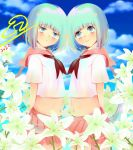 2girls blue_eyes blue_hair blue_sky clouds flower highres lily_(flower) liz. multiple_girls original self_upload short_hair sky smile