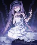 1girl :d bangle bangs bare_shoulders black_ribbon bracelet breasts bridal_gauntlets dress eyebrows_visible_through_hair fate/hollow_ataraxia fate_(series) frilled_dress frilled_hairband frills hair_between_eyes hairband hand_up head_tilt highres jewelry layered_dress long_hair looking_at_viewer open_mouth purple_hair ribbon single_bridal_gauntlet small_breasts smile solo stheno strapless strapless_dress twintails twitter_username very_long_hair violet_eyes white_dress white_hairband yuuki_kira
