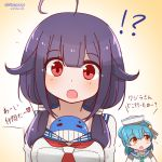 !? 2girls ahoge blue_hair blue_sailor_collar dated dixie_cup_hat double_bun hat heart kantai_collection little_blue_whale_(kantai_collection) military_hat mitchell_(dynxcb25) multiple_girls orange_eyes purple_hair red_eyes sailor_collar samuel_b._roberts_(kantai_collection) school_uniform serafuku taigei_(kantai_collection) translation_request twitter_username whale white_headwear