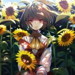 1girl acetylene-lamp adapted_costume ascot backlighting bangs belt blue_sky blurry blurry_background blush brown_belt closed_mouth dappled_sunlight day dress eyebrows_visible_through_hair flower garden_of_the_sun green_hair hair_between_eyes highres holding holding_flower kazami_yuuka light_particles light_smile lips long_sleeves looking_at_viewer off-shoulder_dress off_shoulder red_dress red_eyes reflective_eyes shiny shiny_hair shirt sky solo sunflower sunlight touhou turtleneck wavy_hair white_shirt wind yellow_neckwear