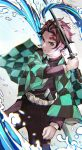 1boy absurdres belt black_pants black_shirt checkered checkered_haori checkered_jacket chromatic_aberration commentary earrings forehead_scar hanafuda haori highres holding holding_sword holding_weapon japanese_clothes jewelry kamado_tanjirou kimetsu_no_yaiba kyuuba_melo looking_at_viewer male_focus pants red_eyes redhead sheath shirt solo sword unsheathed water weapon
