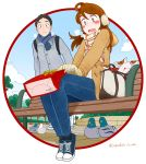 1boy 1girl bag bench bird black_footwear black_hair blue_eyes blue_pants blue_scarf blue_sky blush bow breath brown_hair circle clouds cloudy_sky commentary_request dated eyebrows_visible_through_hair gloves highres jupachi18 leaf letter long_hair long_sleeves open_mouth original outdoors outside_border pants plaid plaid_scarf scarf shadow shoes short_hair sitting sky tree twitter_username white_footwear yellow_bow