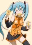 blue_hair blush detached_sleeves doughnut eating hatsune_miku long_hair microphone mister_donut nail_polish necktie thigh-highs thighhighs twintails vocaloid wink youkan zettai_ryouiki