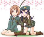 bag beret boots brown_hair camouflage field_radio field_telephone hat military military_uniform purple_hair uniform