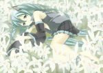 flower hatsune_miku lily_(flower) lying nagareboshi no_bra on_side open_clothes open_shirt shirt smile vocaloid