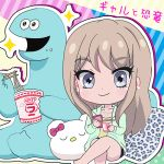 barefoot blonde_hair blue_eyes cellphone chibi dinosaur dinosoaur_(gyaru_and_dinosaur) earrings eating gyaru gyaru_and_dinosaur hanpen_mohu jewelry kaede_(gyaru_and_dinosaur) phone pillow ramen stud_earrings