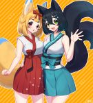 2girls :d :o ^_^ absurdres animal_ears arm_around_waist asymmetrical_docking bangs black_hair blonde_hair blue_bow blue_hair blue_hakama blush bow breast_press breasts cat_ears cat_girl cat_tail character_request closed_eyes commentary_request copyright_name cowboy_shot diagonal_stripes fish_hair_ornament fox_ears fox_girl fox_tail green_eyes hair_between_eyes hair_ornament hair_ribbon hairclip hakama highres japanese_clothes kimono looking_at_viewer medium_breasts multicolored_hair multiple_girls multiple_tails obi open_mouth orange_background red_eyes red_hakama red_ribbon ribbon sakura_chiyo_(konachi000) sash signature sleeveless sleeveless_kimono smile streaked_hair striped striped_background tail tareme two_tails virtual_youtuber waving