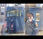 1girl bag bangs black_eyes blazer blush bottle bow bowtie brown_hair commentary daito ground_vehicle jacket original outdoors school_bag school_uniform skirt solo train
