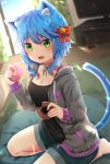 1girl animal_ear_fluff animal_ears aqua_eyes barefoot black_shirt blue_hair bow breasts cat_ears cat_tail controller cushion day doughnut eating food game_controller grey_jacket hair_bow highres holding holding_food indoors jacket michiru_donut original red_bow shirt short_hair shorts sitting small_breasts solo tail television