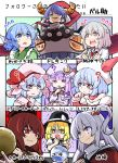 6+girls antinomy_of_common_flowers bare_shoulders berusuke_(beru_no_su) black_shirt blue_eyes blue_hair doremy_sweet double_dealing_character dress hat hecatia_lapislazuli highres kishin_sagume legacy_of_lunatic_kingdom long_hair multiple_girls mystic_square nightcap off-shoulder_shirt off_shoulder patchouli_knowledge red_eyes redhead remilia_scarlet shinki shirt short_hair silver_hair single_wing t-shirt the_embodiment_of_scarlet_devil touhou touhou_(pc-98) violet_eyes wakasagihime wings yuki_(touhou)