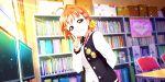 blush jacket love_live!_school_idol_festival_all_stars orange_hair red_eyes short_hair smile