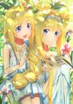 2girls absurdres alice_schuberg blonde_hair blue_dress blue_eyes braid braided_ponytail dress fcc floral_background flower hair_ornament hairband highres loli long_hair looking_at_viewer multiple_girls ponytail sword_art_online sword_art_online_alicization white_hairband