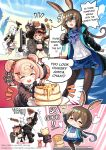 1boy 3girls amiya_(arknights) animal arknights croissant_(arknights) dog eating english_commentary english_text food gummy_(arknights) highres hound matterhorn_(arknights) meat multiple_girls pancake pantyhose phandit_thirathon reunion_soldier_(arknights) stove