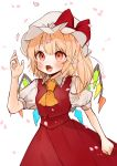 1girl ascot bangs blonde_hair blush bow cowboy_shot eyebrows_visible_through_hair fang flandre_scarlet frilled_shirt_collar frills gotoh510 hand_up hat hat_bow highres long_hair mob_cap open_mouth petals pointy_ears puffy_short_sleeves puffy_sleeves red_bow red_eyes red_skirt red_vest shirt short_sleeves simple_background skirt skirt_set solo standing touhou vest white_background white_headwear white_shirt wings yellow_neckwear