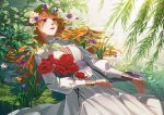 1girl afloat dress fine_art_parody floating flower grass jeya_(leej3ya) lily_pad long_hair long_sleeves lying_on_water ophelia_(painting) orange_hair original parody partially_submerged plant purple_flower red_flower solo violet_eyes water white_dress white_flower