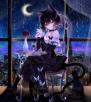 1girl animal_ears artist_name bangs bare_shoulders black_cat black_choker black_dress black_footwear black_hair cat cat_ears cat_tail chair choker commentary crescent_moon dress hands_up high_heels highres interlocked_fingers long_sleeves looking_at_viewer moon nail_polish night night_sky off-shoulder_dress off_shoulder original own_hands_together red_eyes red_nails sheya short_hair signature sky symbol_commentary table tail