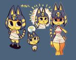 1girl :< ? animal_ears bandages bare_shoulders blush blush_stickers bob_cut character_name closed_mouth commentary doubutsu_no_mori dress egyptian emphasis_lines english_commentary eyeshadow hair_ornament hand_on_hip jackal_ears looking_at_viewer makeup nile_(doubutsu_no_mori) outline rariatto_(ganguri) short_dress short_hair snake_hair_ornament solo spoken_question_mark standing striped_tail tail white_outline wristband yellow_skin