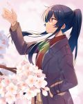 1girl alternate_costume arm_up black_hair blush brown_coat buttons cherry_blossoms coat eyebrows_visible_through_hair from_side hair_between_eyes hand_in_pocket highres kantai_collection long_hair long_sleeves parted_lips petals ponytail red_eyes solo upper_body very_long_hair yahagi_(kantai_collection) yukichi_(eikichi)