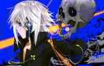1boy aura bare_chest black_gloves blue_background blue_eyes closed_mouth crack crossed_arms eyepatch floating frown gloves hair_between_eyes highres lens_flare open_mouth original skull upper_body white_hair xuefei_(snowdrop)