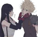 1boy 1girl arm_warmers black_hair blonde_hair blue_eyes blush breasts closed_mouth cloud_strife ear_piercing english_commentary eyebrows_visible_through_hair eyes_visible_through_hair final_fantasy final_fantasy_vii fingerless_gloves gloves hair_between_eyes hands_on_another's_face highres humiyooo large_breasts lips long_hair looking_at_another midriff motion_lines piercing pout profile red_eyes red_gloves ribbed_shirt shirt short_hair shoulder_armor simple_background sleeveless sleeveless_shirt spiky_hair straight_hair strap suspenders tank_top tifa_lockhart turtleneck upper_body white_background white_tank_top