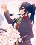 1girl alternate_costume arm_up black_hair blush brown_coat buttons cherry_blossoms coat eyebrows_visible_through_hair from_side hair_between_eyes hand_in_pocket kantai_collection long_hair long_sleeves parted_lips petals ponytail red_eyes solo upper_body very_long_hair yahagi_(kantai_collection) yukichi_(eikichi)