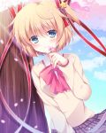 1girl beige_sweater blonde_hair blue_eyes bow cherry_blossoms commentary_request cowboy_shot grey_skirt hair_ornament hair_ribbon highres kamikita_komari little_busters! looking_at_viewer pink_bow plaid plaid_skirt pleated_skirt pokopi red_ribbon ribbon school_uniform short_hair skirt smile solo star star_hair_ornament tree twintails