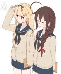 2girls ahoge alternate_costume beige_cardigan black_hair black_neckwear black_ribbon blonde_hair blue_sailor_collar blue_skirt book braid closed_eyes commentary_request cowboy_shot hair_flaps hair_ornament hair_over_shoulder hair_ribbon hairclip highres kantai_collection long_hair multiple_girls neckerchief pleated_skirt red_eyes remodel_(kantai_collection) ribbon sailor_collar school_uniform serafuku shigure_(kantai_collection) simple_background single_braid skirt standing tiemu_(man190) white_background yuudachi_(kantai_collection)