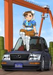 1girl blue_dress boots bracelet brown_eyes brown_hair brown_legwear bun_cover can car chibi china_dress chinese_clothes chun-li commentary_request cross-laced_footwear dock double_bun dress drinking drinking_straw ground_vehicle highres jewelry lexus looking_at_viewer motor_vehicle on_vehicle pantyhose pelvic_curtain puffy_short_sleeves puffy_sleeves sash shigenobu short_sleeves sitting soda_can solo spiked_bracelet spikes street_fighter white_footwear