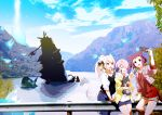 3girls animal_ears au_ra brown_eyes brown_hair building cat cat_ears cat_tail cellphone cellphone_camera closed_eyes commentary_request crash cropped_jacket crystal day dog final_fantasy final_fantasy_xiv hair_over_one_eye highres jacket lili_mdoki long_hair miqo'te multiple_girls open_clothes open_jacket open_mouth outdoors phone pink_hair ponytail scales self_shot short_hair shorts tail v water white_hair