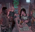 1girl 2boys alcohol bar barret_wallace bartender beer black_hair blonde_hair bottle brown_hair card cloud_strife cup dark_skin drinking_glass elbow_gloves facial_hair final_fantasy final_fantasy_vii fingerless_gloves gabriel_picolo gloves highres indoors jewelry long_hair midriff multiple_boys navel neon_lights newspaper playing_card refrigerator sabotender shaker shirt short_hair sitting sleeveless stool suspenders tank_top television tifa_lockhart whiskey wine