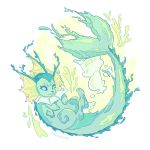 :3 ashleyloob blue_eyes bubble closed_mouth fins flat_color highres md5_mismatch pokemon pokemon_(creature) simple_background tail vaporeon white_background