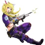 1girl :d animal_ears assault_rifle belt black_belt black_footwear black_gloves blonde_hair blush boots braid character_request copyright_request cropped_jacket cross-laced_footwear finger_on_trigger from_side full_body gloves green_eyes gun handgun holding holding_gun holding_weapon holster holstered_weapon horns jacket long_hair open_mouth pants pistol pouch purple_jacket purple_pants rainbow_six_siege rifle shu-mai simple_background smile solo swastika twin_braids walkie-talkie weapon white_background