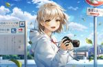1girl blush brown_eyes brown_hair camera connie_(keean2019) directional_arrow eyebrows_visible_through_hair hair_ornament hairclip holding holding_camera hood hoodie looking_at_viewer open_mouth original road_sign scenery short_hair sign sky smile translation_request white_hoodie