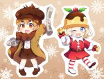 2girls :d ;d bell belt belt_buckle blonde_hair blue_eyes blush boots bow brown_background brown_belt brown_bow brown_eyes brown_footwear brown_hair brown_headwear brown_jacket brown_shorts buckle cabbie_hat caramell0501 character_request cookie_run dress dress_shirt fur-trimmed_sleeves fur_trim hat highres holding jacket loafers looking_at_viewer mittens multiple_girls newspaper one_eye_closed open_clothes open_jacket open_mouth outline outstretched_arm patches red_dress shirt shoes short_eyebrows shorts simple_background smile snowflake_background socks striped striped_footwear striped_legwear suspender_shorts suspenders thick_eyebrows thigh-highs thigh_boots white_legwear white_mittens white_outline white_shirt
