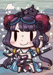 1girl april_fools bangs bikini black_eyes black_hair blush chibi fate/grand_order fate_(series) floral_print goggles goggles_on_head highres katana katsushika_hokusai_(fate/grand_order) katsushika_hokusai_(swimsuit_saber)_(fate) leg_belt multiple_swords octopus official_art riyo_(lyomsnpmp) short_hair_with_long_locks smile solo_focus sweat swimsuit sword tokitarou_(fate/grand_order) wavy_hair weapon white_bikini