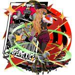 1girl :d asuna_(sao) axe black_feathers black_footwear black_headwear black_legwear braid brown_eyes brown_hair cosplay crown_braid curly_hair from_behind full_body gloves hat hat_feather highres holding holding_axe legwear_under_shorts long_hair looking_at_viewer looking_back mask official_art okumura_haru okumura_haru_(cosplay) open_mouth pantyhose persona persona_5 purple_gloves purple_shorts short_shorts shorts smile solo standing sword_art_online tarot the_empress very_long_hair vest