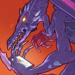 cellphone glowing glowing_eyes metroid orange_background phone pockypalooza ridley simple_background smartphone solo super_smash_bros. the_pirate_bay upper_body yellow_eyes
