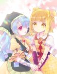 2girls apron arm_ribbon armor armored_dress bangs biyon blonde_hair blue_hair blunt_bangs blurry blurry_background bright_pupils cherry_blossoms commentary daisy double_bun dress eyebrows_visible_through_hair flower green_apron green_headwear hair_over_one_eye hair_ribbon haniwa_(statue) haniyasushin_keiki holding_hands hood joutouguu_mayumi lens_flare long_hair magatama magatama_necklace multiple_girls open_mouth puffy_short_sleeves puffy_sleeves red_eyes ribbon short_hair short_sleeves sideways_mouth single_strap smile spring_(season) touhou vambraces very_long_hair white_background white_pupils yellow_dress yellow_eyes yuri