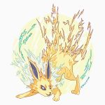 >:) ashleyloob electricity flat_color highres jolteon md5_mismatch open_mouth pokemon pokemon_(creature) simple_background sparks violet_eyes white_background