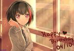 1girl absurdres bang_dream! bangs black_hair blazer blue_neckwear bob_cut breasts check_commentary collared_shirt commentary_request dated evening eyebrows_visible_through_hair grey_jacket hallway hand_up haneoka_school_uniform happy_birthday heart highres indoors jacket long_sleeves looking_at_viewer medium_breasts mitake_ran multicolored_hair musical_note necktie redhead reneua school_uniform shirt short_hair sidelocks smile solo sparkle streaked_hair striped striped_neckwear twitter_username upper_body violet_eyes white_shirt window