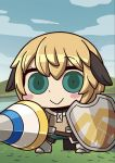 1girl :> april_fools armored_boots blonde_hair blue_sky blush_stickers boots brown_hair chibi clouds fate/grand_order fate_(series) gareth_(fate/grand_order) green_eyes highres holding holding_lance holding_shield holding_weapon looking_at_viewer multicolored_hair official_art riyo_(lyomsnpmp) shield short_hair sky solo weapon
