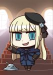 1girl april_fools aqua_hair black_headwear blonde_hair brown_gloves bubble_slime chibi closed_eyes dragon_quest fate/grand_order fate_(series) gloves grey_flower hand_on_hip hat highres long_hair long_sleeves looking_at_viewer lord_el-melloi_ii_case_files metal_slime official_art open_mouth reines_el-melloi_archisorte riyo_(lyomsnpmp) smile smirk solo_focus stairs trimmau