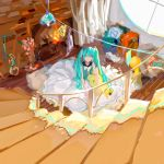 >_< 1girl aqua_eyes aqua_hair aqua_shirt caibaobao_(user_ncrp5222) clothesline commentary fireplace from_above hatsune_miku highres indoors long_hair room round_window scenery shirt sitting sketch skirt solo spread_skirt stairs stuffed_toy twintails very_long_hair vocaloid white_skirt
