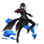 1boy amamiya_ren black_coat black_eyes black_hair black_pants brown_footwear closed_mouth coat dagger full_body gloves highres holding holding_dagger holding_weapon long_sleeves looking_at_viewer male_focus mask official_art pants persona persona_5 red_gloves shiny shiny_hair solo sword_art_online transparent_background weapon