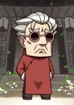 1boy april_fools changpao chibi chinese_clothes fate/extra fate/grand_order fate_(series) frown grey_hair hands_in_pockets highres leaf li_shuwen_(fate) long_sleeves official_art riyo_(lyomsnpmp) round_eyewear short_hair solo stairs sunglasses