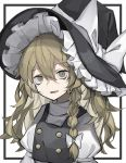 1girl absurdres arm_ribbon bags_under_eyes black_border black_dress blonde_hair blurry border bow braid buttons commentary dress eyebrows_visible_through_hair frilled_hat frills hair_between_eyes hair_bow hat hat_bow highres hisha_(kan_moko) kirisame_marisa long_hair looking_at_viewer open_mouth outside_border pinafore_dress puffy_sleeves ribbon sanpaku shadow shirt solo touhou turtleneck upper_body white_bow white_shirt witch_hat yellow_eyes